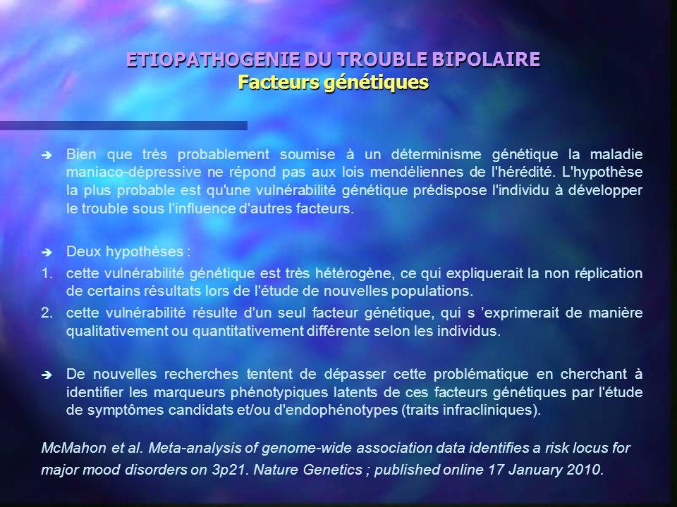 ETIOPATHOGENIE DU TROUBLE BIPOLAIRE Facteurs génétiques è è Bien que très probablement soumise à un déterminisme génétique la maladie maniaco-dépressi