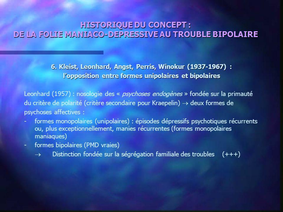 HISTORIQUE DU CONCEPT : DE LA FOLIE MANIACO-DEPRESSIVE AU TROUBLE BIPOLAIRE 6. Kleist, Leonhard, Angst, Perris, Winokur (1937-1967) : lopposition entr