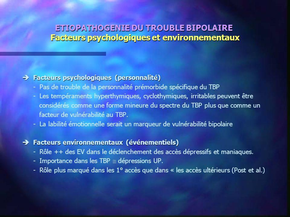 ETIOPATHOGENIE DU TROUBLE BIPOLAIRE Facteurs psychologiques et environnementaux Facteurs psychologiques (personnalité) Facteurs psychologiques (person
