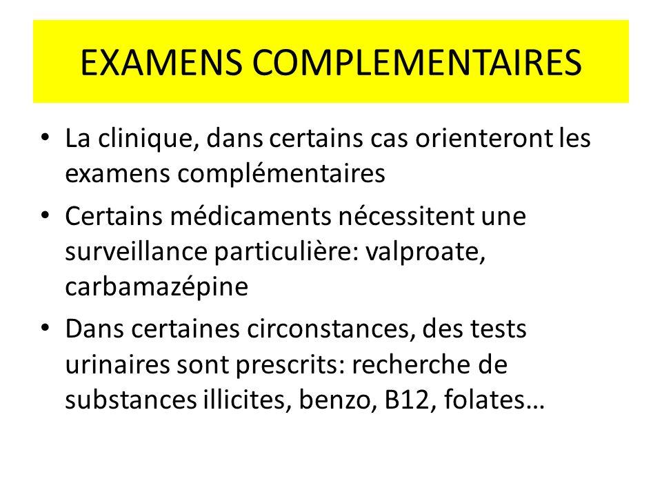 EXAMENS COMPLEMENTAIRES La clinique, dans certains cas orienteront les examens complémentaires Certains médicaments nécessitent une surveillance parti