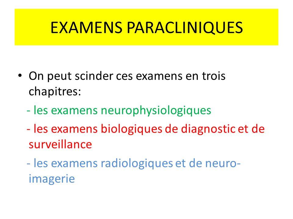 EXAMENS PARACLINIQUES On peut scinder ces examens en trois chapitres: - les examens neurophysiologiques - les examens biologiques de diagnostic et de
