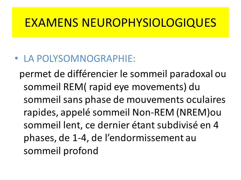 EXAMENS NEUROPHYSIOLOGIQUES LA POLYSOMNOGRAPHIE: permet de différencier le sommeil paradoxal ou sommeil REM( rapid eye movements) du sommeil sans phas