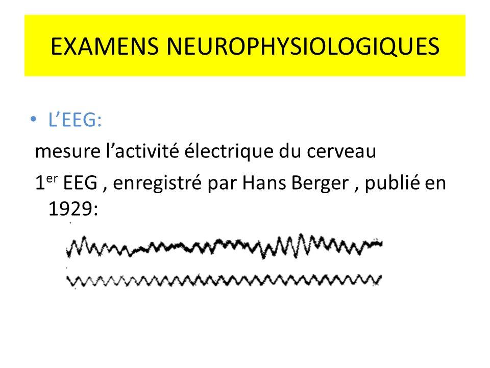 EXAMENS NEUROPHYSIOLOGIQUES LEEG: mesure lactivité électrique du cerveau 1 er EEG, enregistré par Hans Berger, publié en 1929: