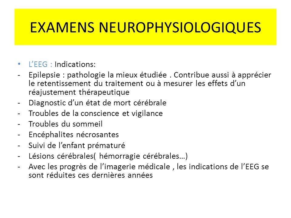 EXAMENS NEUROPHYSIOLOGIQUES LEEG : Indications: -Epilepsie : pathologie la mieux étudiée. Contribue aussi à apprécier le retentissement du traitement