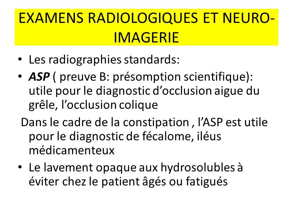 EXAMENS RADIOLOGIQUES ET NEURO- IMAGERIE Les radiographies standards: ASP ( preuve B: présomption scientifique): utile pour le diagnostic docclusion a
