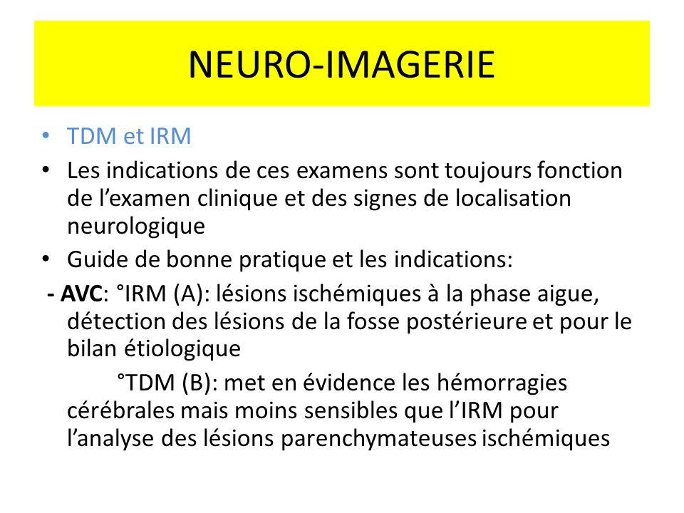 TDM et IRM Les indications de ces examens sont toujours fonction de lexamen clinique et des signes de localisation neurologique Guide de bonne pratiqu