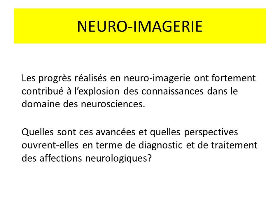 NEURO-IMAGERIE Les progrès réalisés en neuro-imagerie ont fortement contribué à lexplosion des connaissances dans le domaine des neurosciences. Quelle