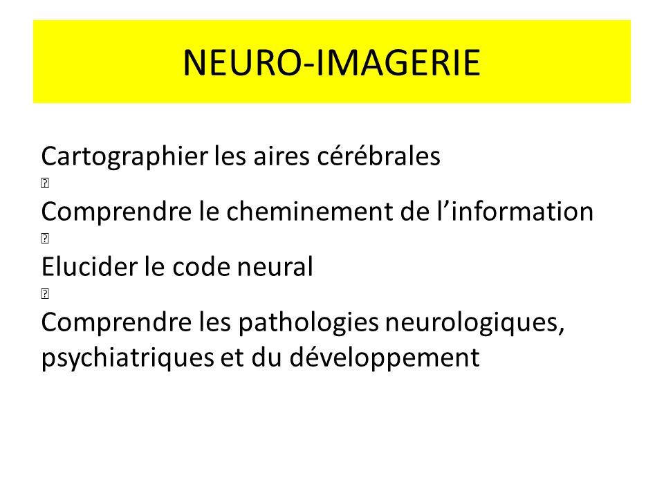 NEURO-IMAGERIE Cartographier les aires cérébrales Comprendre le cheminement de linformation Elucider le code neural Comprendre les pathologies neurolo