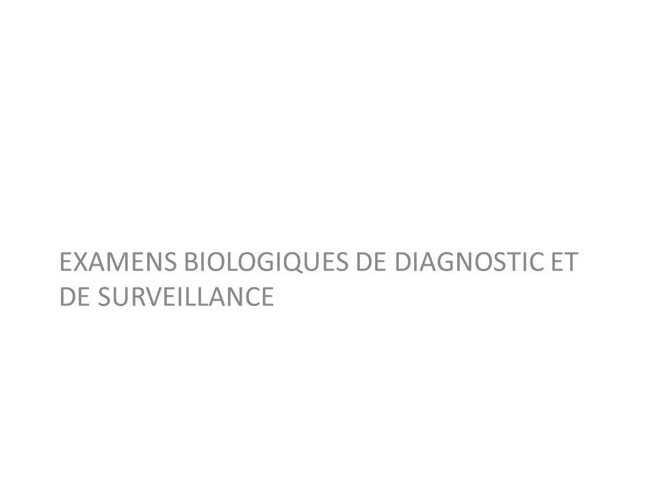 EXAMENS BIOLOGIQUES DE DIAGNOSTIC ET DE SURVEILLANCE