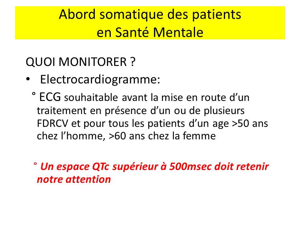 Abord somatique des patients en Santé Mentale QUOI MONITORER ? Electrocardiogramme: ° ECG souhaitable avant la mise en route dun traitement en présenc