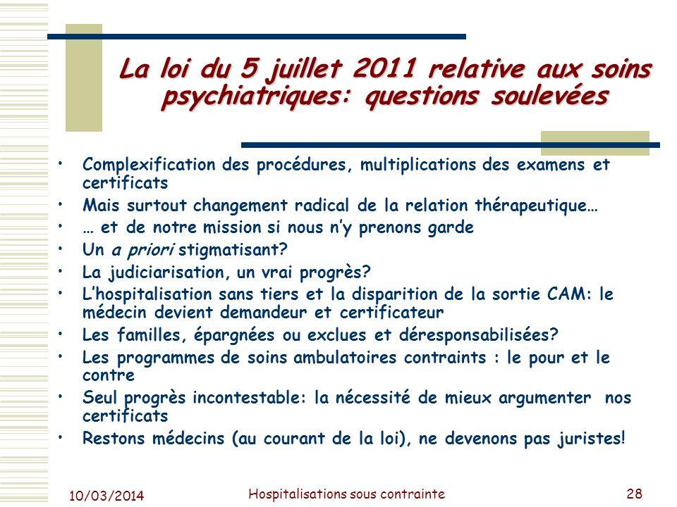 10/03/2014 Hospitalisations sous contrainte28 La loi du 5 juillet 2011 relative aux soins psychiatriques: questions soulevées Complexification des pro