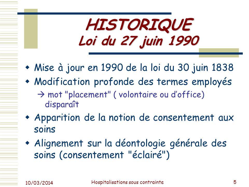 10/03/2014 Hospitalisations sous contrainte6 LE CADRE LEGAL Textes internationaux Convention des Droits de lHomme (1950) Convention sur les droits de lhomme et la biomédecine (1997) Recommandations européennes Recommandation 818 (1977) Recommandation 83 (1983) Recommandation 91 (1991) Recommandation 1235 (1994) Recommandation du comité des ministres (2004) Protocole de lONU contre la torture (2002) Loi française (Cf.