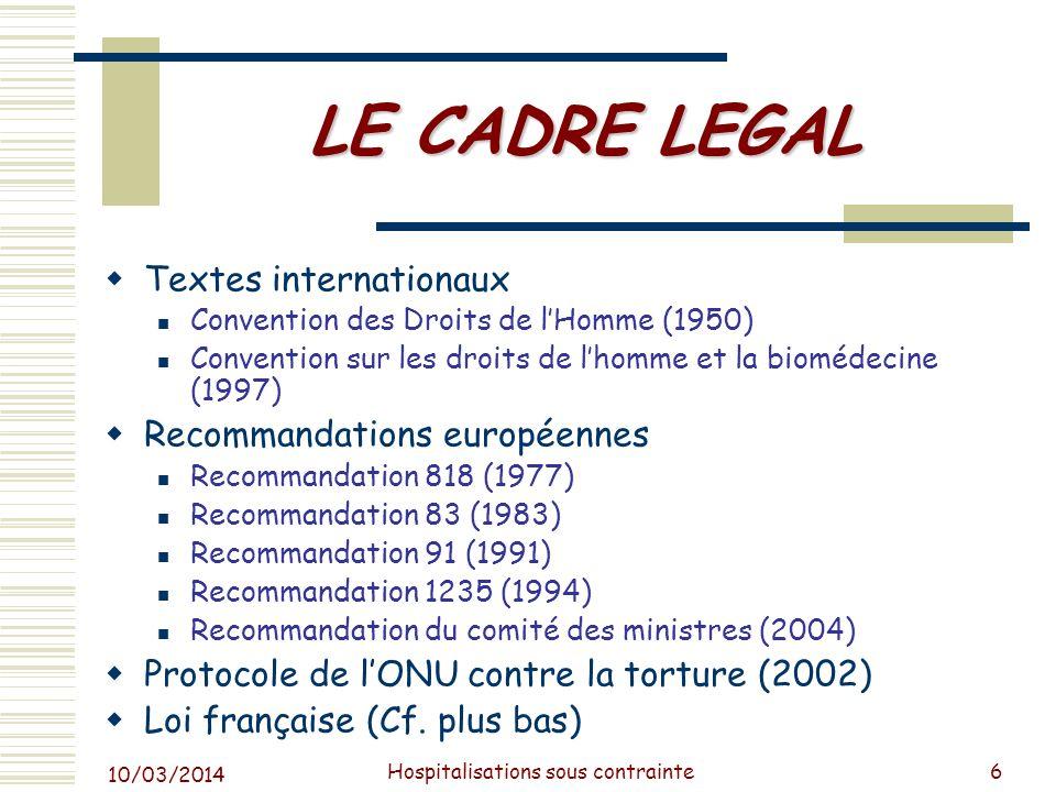 10/03/2014 Hospitalisations sous contrainte7 Hypothèses concernant laugmentation du nombre des HSC dès avant 2011 Augmentation du recours aux soins psychiatriques .