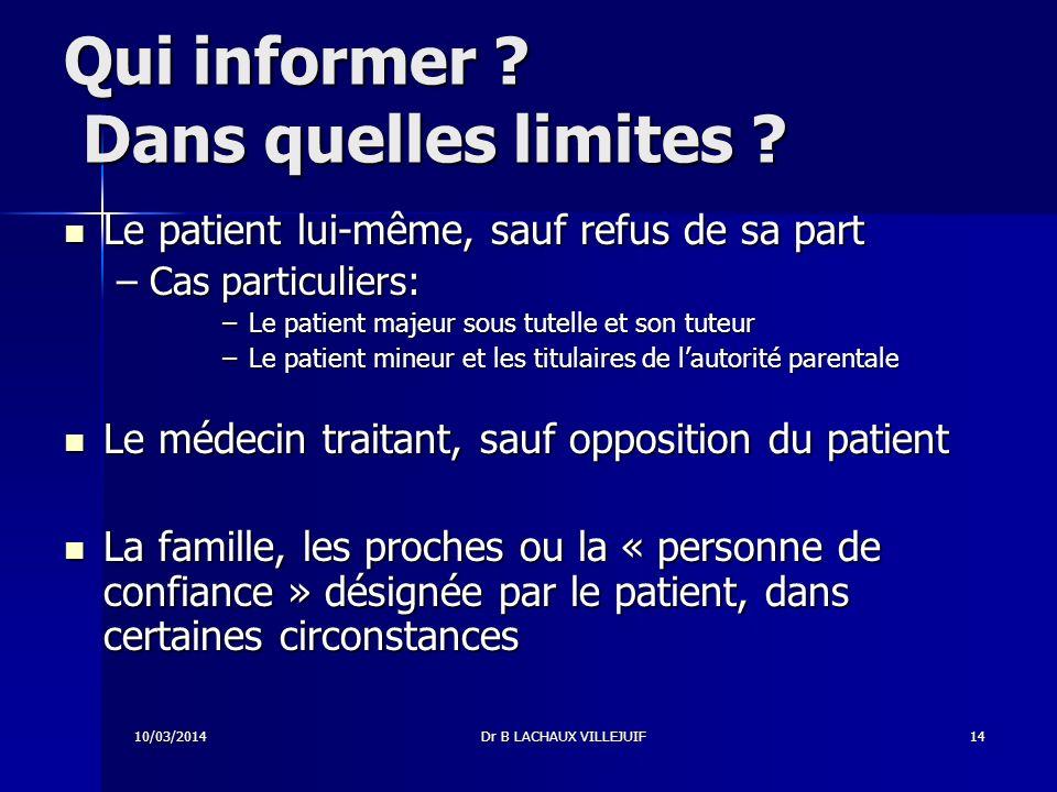 10/03/2014Dr B LACHAUX VILLEJUIF13 Information du patient Soignant Information Patient Devoir éthique Intérêt clinique Obligation légale