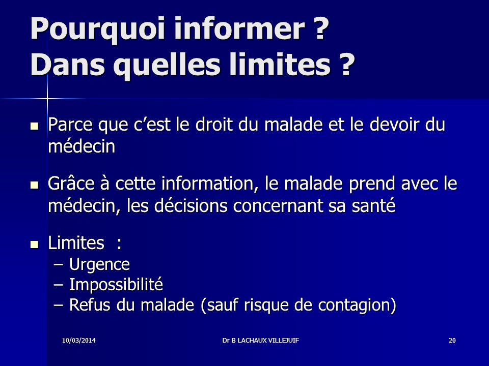 10/03/2014Dr B LACHAUX VILLEJUIF19 Quand informer .
