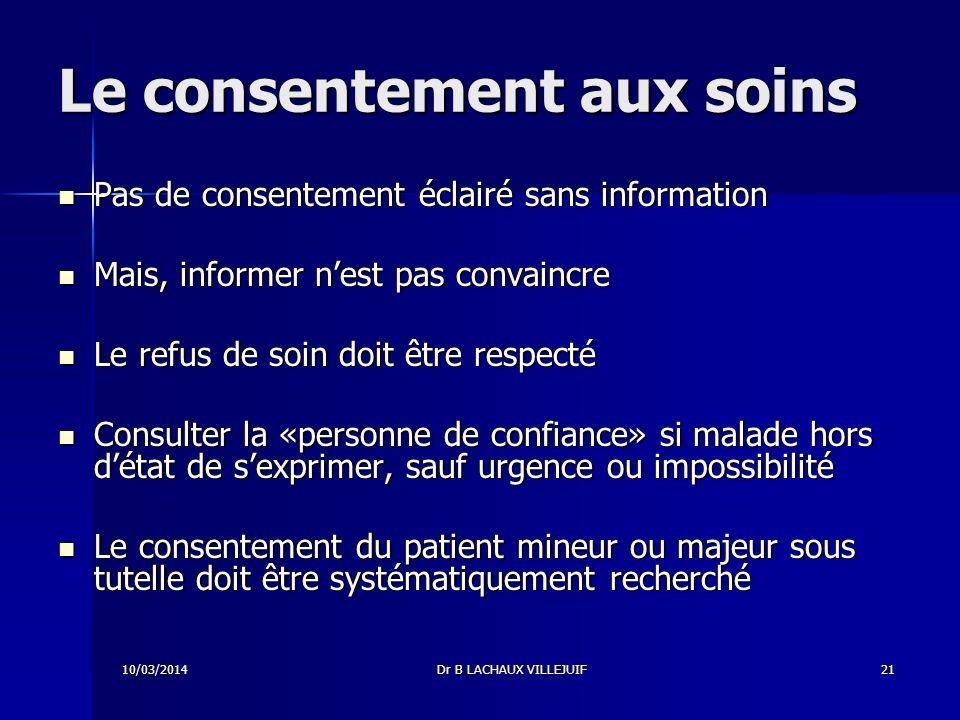 10/03/2014Dr B LACHAUX VILLEJUIF20 Pourquoi informer .