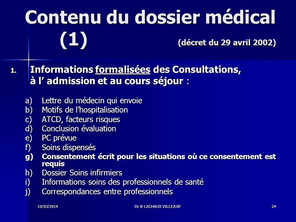 10/03/2014Dr B LACHAUX VILLEJUIF23 Dossier patient / Dossier médical