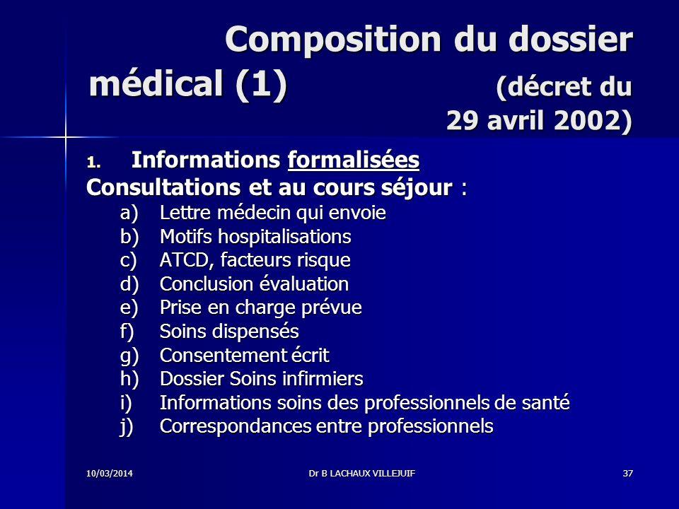 10/03/2014Dr B LACHAUX VILLEJUIF36 Dossier patient Principe : possibilité daccès direct à lensemble des informations formalisées du dossier