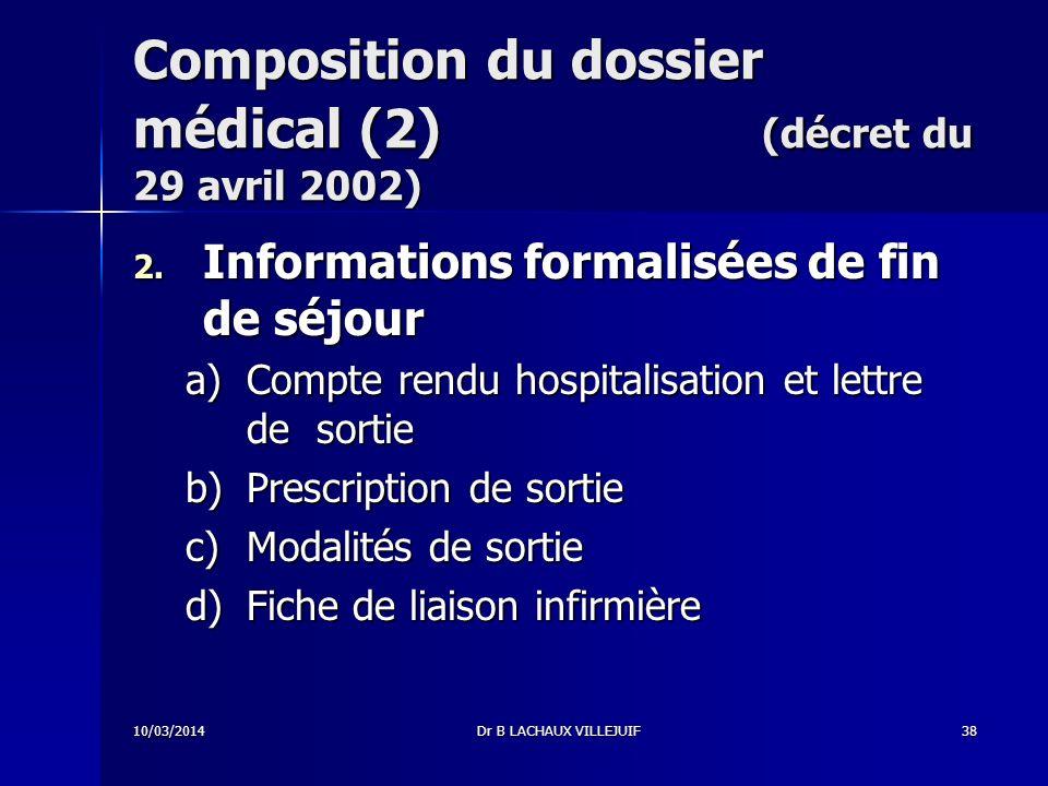 10/03/2014Dr B LACHAUX VILLEJUIF37 Composition du dossier médical (1) (décret du 29 avril 2002) 1.