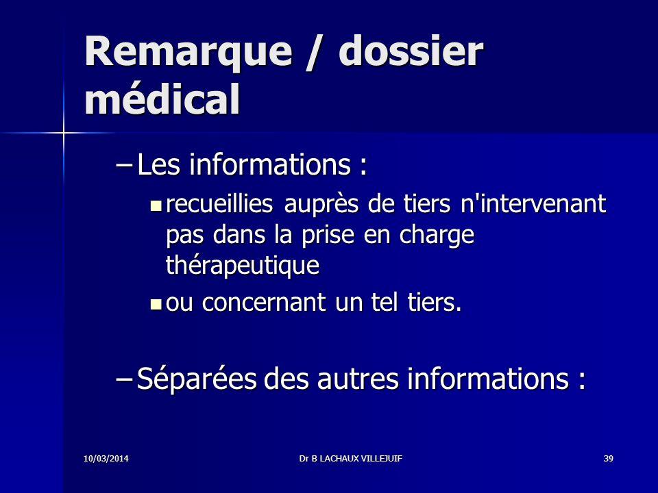 10/03/2014Dr B LACHAUX VILLEJUIF38 Composition du dossier médical (2) (décret du 29 avril 2002) 2.