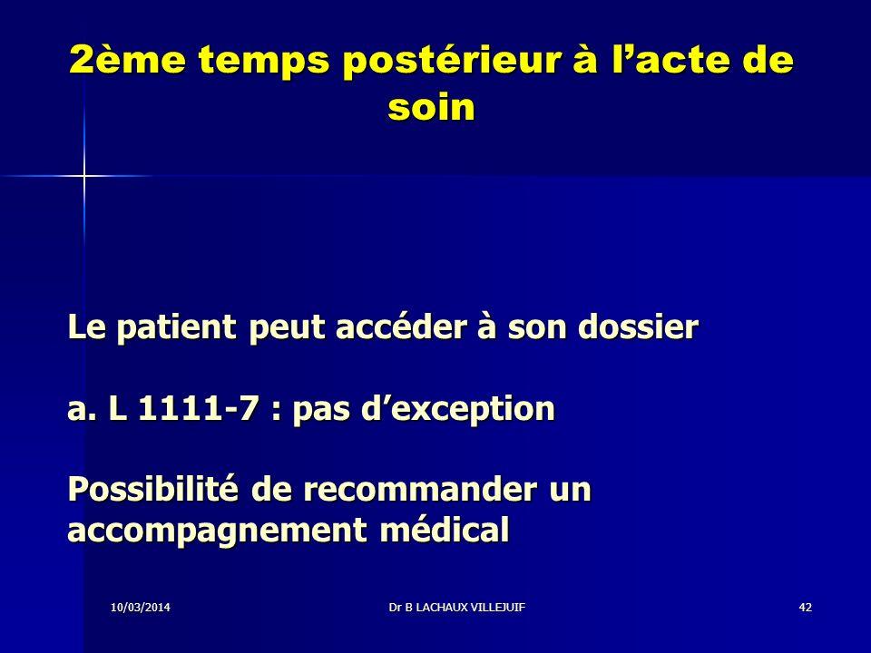 10/03/2014Dr B LACHAUX VILLEJUIF41 1er temps contemporain aux actes de soins a.