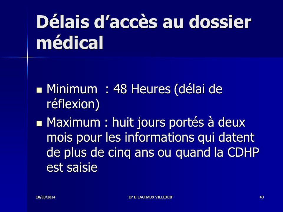 10/03/2014Dr B LACHAUX VILLEJUIF42 Le patient peut accéder à son dossier a.