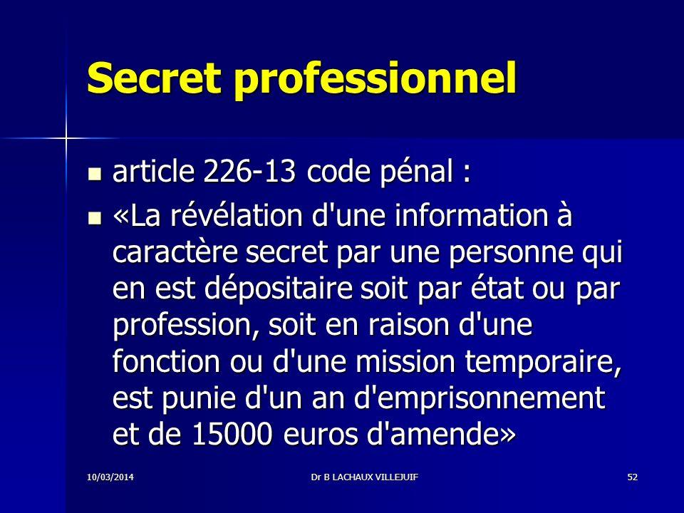 Secret professionnel Code Pénal de 1992 applicable depuis mars 1994 Code Pénal de 1992 applicable depuis mars 1994 10/03/2014Dr B LACHAUX VILLEJUIF51