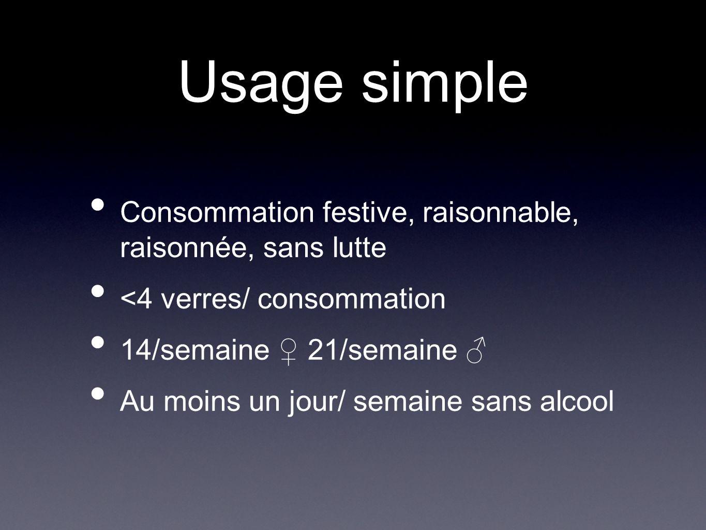 Usage simple Consommation festive, raisonnable, raisonnée, sans lutte <4 verres/ consommation 14/semaine 21/semaine Au moins un jour/ semaine sans alc