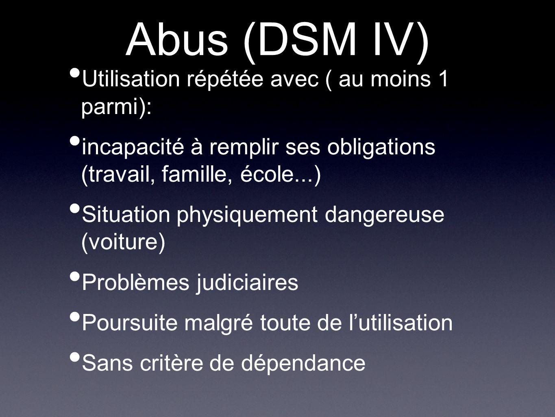 Abus (DSM IV) Utilisation répétée avec ( au moins 1 parmi): incapacité à remplir ses obligations (travail, famille, école...) Situation physiquement d