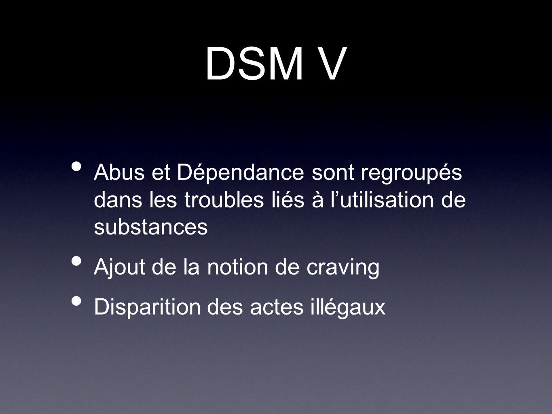 DSM V Abus et Dépendance sont regroupés dans les troubles liés à lutilisation de substances Ajout de la notion de craving Disparition des actes illéga