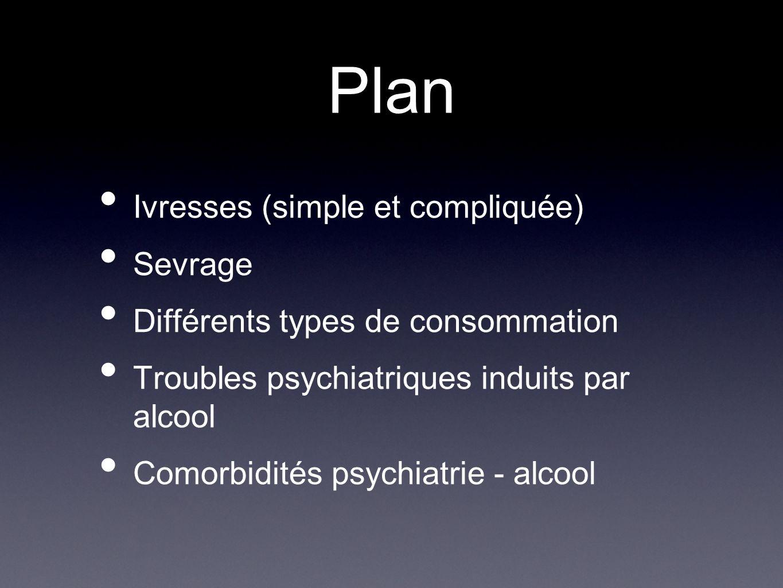 Plan Ivresses (simple et compliquée) Sevrage Différents types de consommation Troubles psychiatriques induits par alcool Comorbidités psychiatrie - al