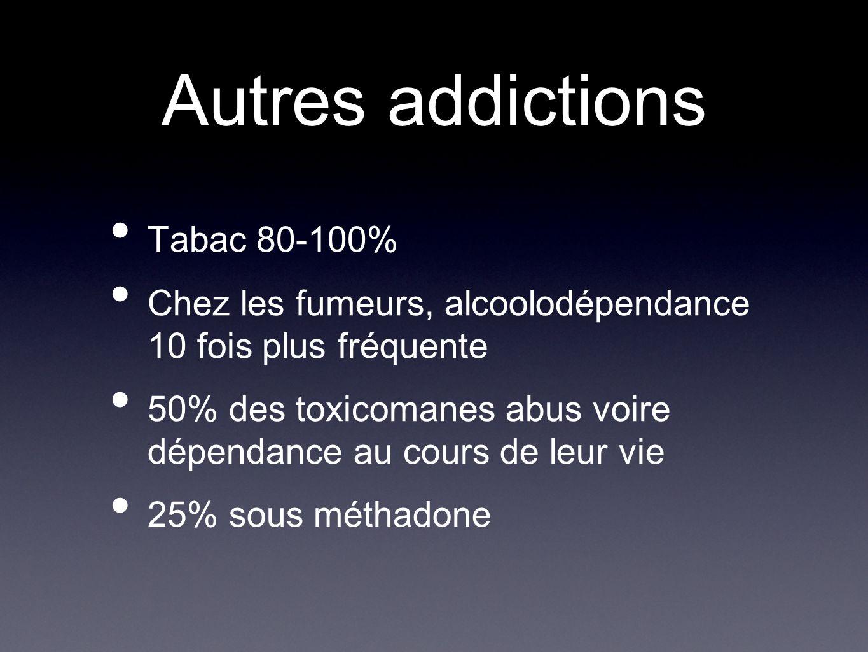 Autres addictions Tabac 80-100% Chez les fumeurs, alcoolodépendance 10 fois plus fréquente 50% des toxicomanes abus voire dépendance au cours de leur