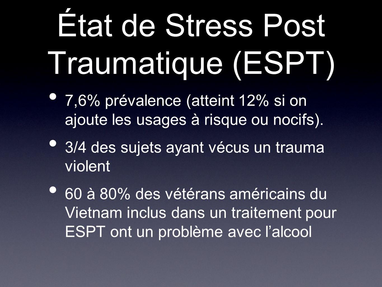 État de Stress Post Traumatique (ESPT) 7,6% prévalence (atteint 12% si on ajoute les usages à risque ou nocifs). 3/4 des sujets ayant vécus un trauma