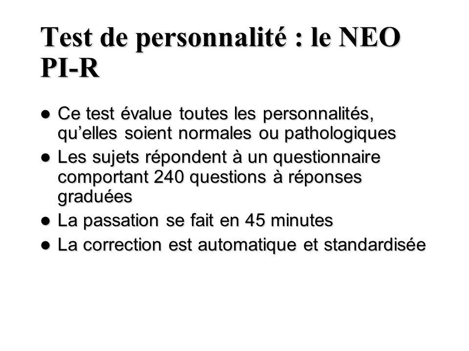 Test de personnalité : le NEO PI-R Ce test évalue toutes les personnalités, quelles soient normales ou pathologiques Ce test évalue toutes les personn