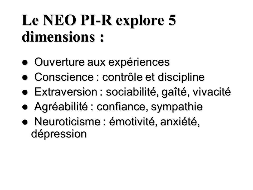 Le NEO PI-R explore 5 dimensions : Ouverture aux expériences Ouverture aux expériences Conscience : contrôle et discipline Conscience : contrôle et di