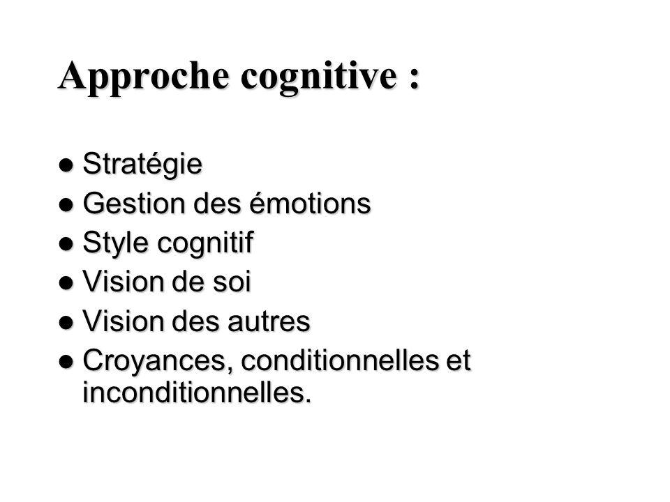Approche cognitive : Stratégie Stratégie Gestion des émotions Gestion des émotions Style cognitif Style cognitif Vision de soi Vision de soi Vision de