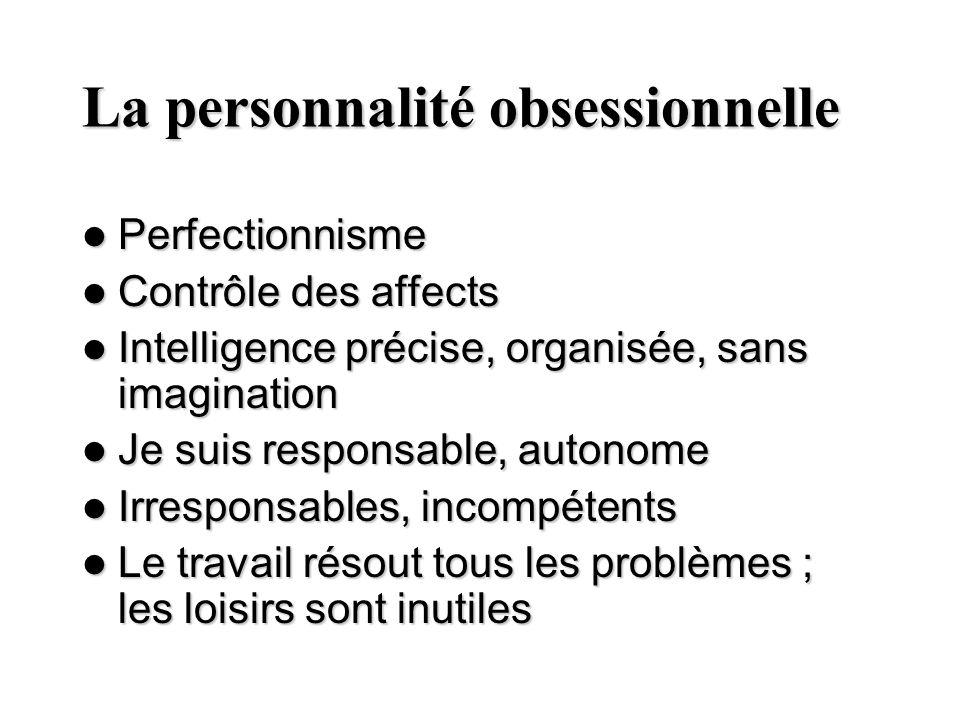 La personnalité obsessionnelle Perfectionnisme Perfectionnisme Contrôle des affects Contrôle des affects Intelligence précise, organisée, sans imagina