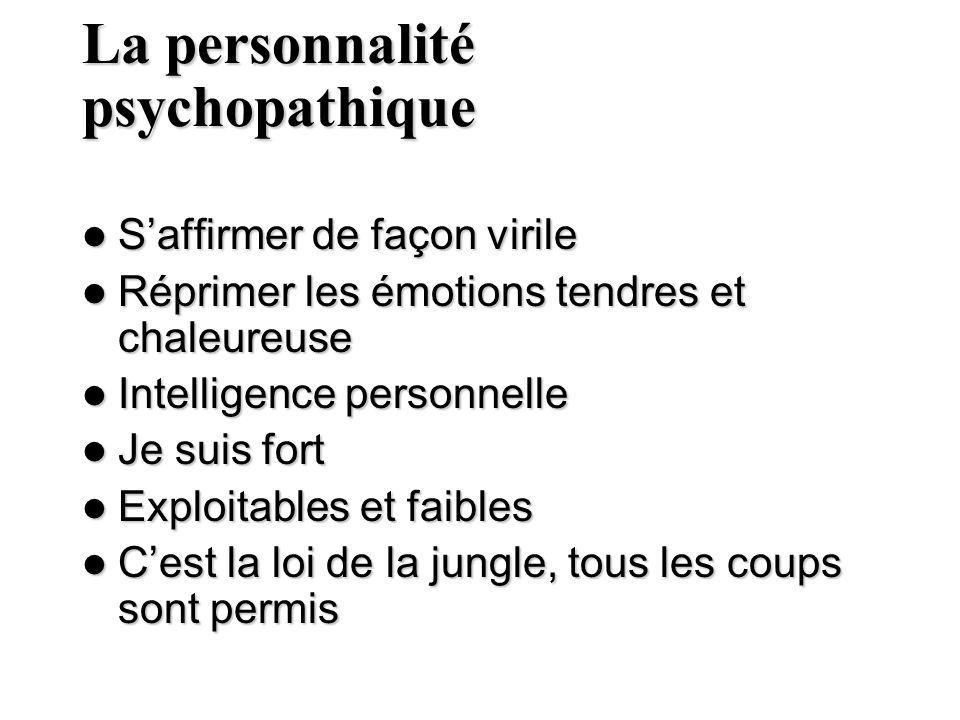 La personnalité psychopathique Saffirmer de façon virile Saffirmer de façon virile Réprimer les émotions tendres et chaleureuse Réprimer les émotions