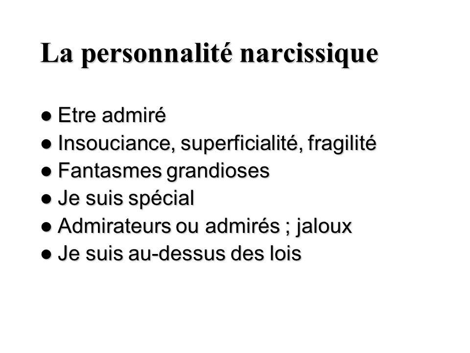 La personnalité narcissique Etre admiré Etre admiré Insouciance, superficialité, fragilité Insouciance, superficialité, fragilité Fantasmes grandioses