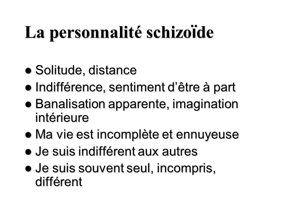 La personnalité schizo ï de Solitude, distance Solitude, distance Indifférence, sentiment dêtre à part Indifférence, sentiment dêtre à part Banalisati