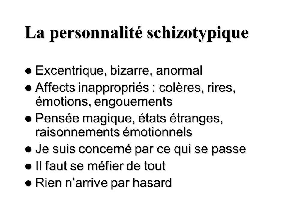 La personnalité schizotypique Excentrique, bizarre, anormal Excentrique, bizarre, anormal Affects inappropriés : colères, rires, émotions, engouements