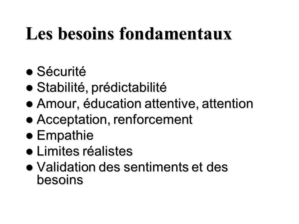 Les besoins fondamentaux Sécurité Sécurité Stabilité, prédictabilité Stabilité, prédictabilité Amour, éducation attentive, attention Amour, éducation