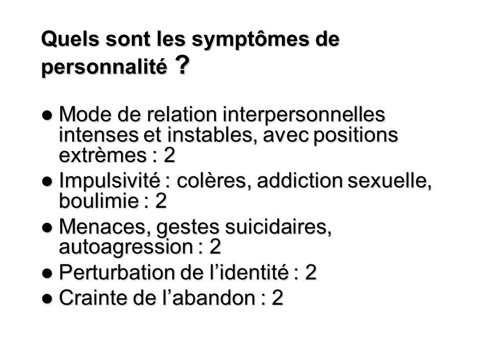 Quels sont les symptômes de personnalité ? Mode de relation interpersonnelles intenses et instables, avec positions extrèmes : 2 Mode de relation inte