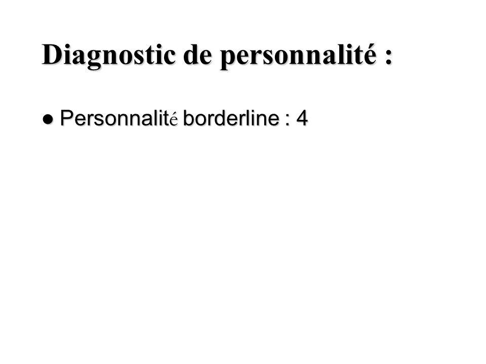 Diagnostic de personnalité : Personnalit é borderline : 4 Personnalit é borderline : 4