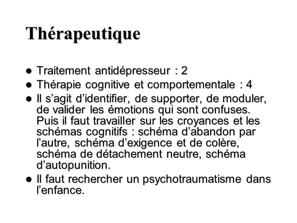 Thérapeutique Traitement antidépresseur : 2 Traitement antidépresseur : 2 Thérapie cognitive et comportementale : 4 Thérapie cognitive et comportement