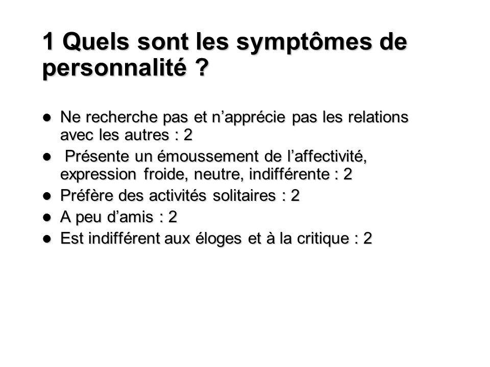 1 Quels sont les symptômes de personnalité ? Ne recherche pas et napprécie pas les relations avec les autres : 2 Ne recherche pas et napprécie pas les