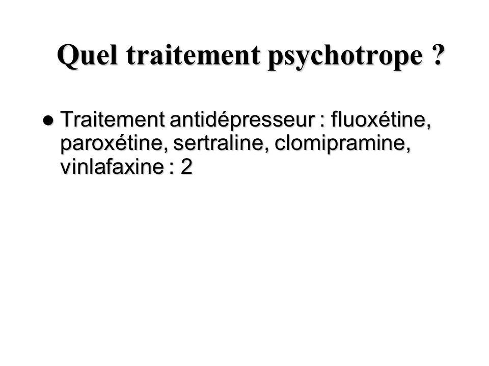Quel traitement psychotrope ? Quel traitement psychotrope ? Traitement antidépresseur : fluoxétine, paroxétine, sertraline, clomipramine, vinlafaxine