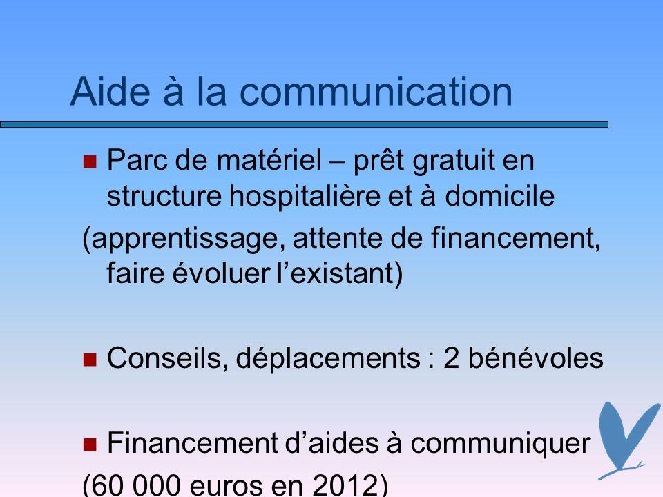 Aide à la communication Parc de matériel – prêt gratuit en structure hospitalière et à domicile (apprentissage, attente de financement, faire évoluer