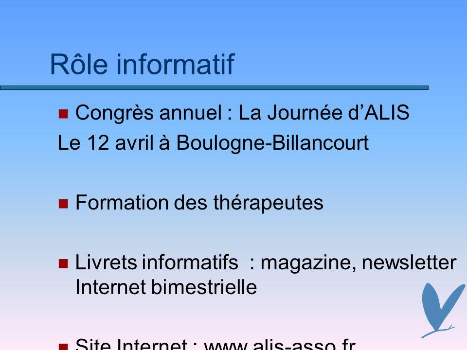 Rôle informatif Congrès annuel : La Journée dALIS Le 12 avril à Boulogne-Billancourt Formation des thérapeutes Livrets informatifs : magazine, newslet