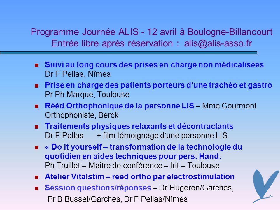 Programme Journée ALIS - 12 avril à Boulogne-Billancourt Entrée libre après réservation : alis@alis-asso.fr Suivi au long cours des prises en charge n